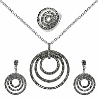 36.90 Grams Marcasite .925 Sterling Silver Pendant Set