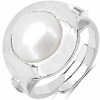 7.25 Ratti Pearl Round Shape Moon Planet Sign Embossed .925 Ste
