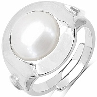 11.25 Ratti Pearl Round Shape Moon Planet Sign Embossed .925 St