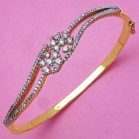 8.00 Grams White Cubic Zirconia Gold Plated Bracelet