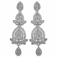 10.90 Grams White Cubic Zircon Copper Earrings