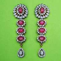 17.10 Grams White Cubic Zirconia & Pink Glass Gold Plated Earri