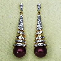 14.80 Grams White Cubic Zirconia & Maroon Glass Gold Plated Ear