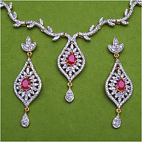 24.60 Grams Synthetic Ruby & White Cubic Zirconia Gold Plated B