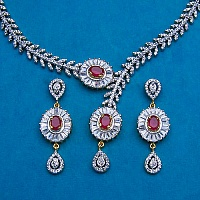 36.80 Grams Pink Glass Gold Plated Necklace Set