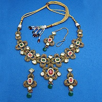 100.50 Grams Mulltistone Gold Plated Necklace Set