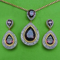 Purple Glass & White Cubic Zirconia Gold Plated Pendant Set