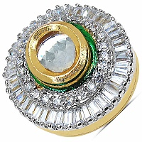 6.60 Grams White Cubic Zirconia & White Glass Gold Plated Green