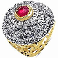 9.40 Grams White Cubic Zirconia & Pink Glass Gold Plated Rin