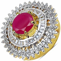 8.50 Grams White Cubic Zirconia & Pink Glass Gold Plated Ring