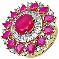 10.10 Grams White Cubic Zirconia & Pink Glass Gold Plated Ring