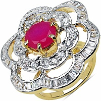 6.80 Grams White Cubic Zirconia & Pink Glass Gold Plated Ring