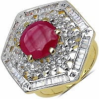 9.40 Grams White Cubic Zirconia & Pink Glass Gold Plated Ring