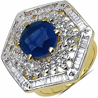 8.40 Grams White Cubic Zirconia & Blue Glass Gold Plated Ring