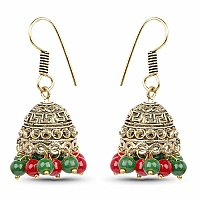 Brass Jhumki Earrings with Multi Colored Beads