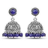 Brass Jhumki Earrings with Blue Colored Beads