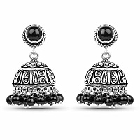 Brass Jhumki Earrings with Black Colored Beads