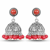 Brass Jhumki Earrings with Red Colored Beads
