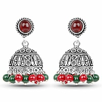 Brass Jhumki Earrings with Green and Red Colored Beads