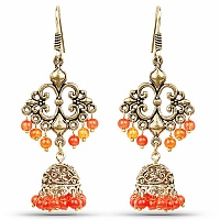 Brass Jhumka Dangle Earrings with Orange Colored Beads