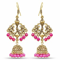 Brass Jhumka Dangle Earrings with Pink Colored Beads
