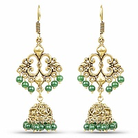 Brass Jhumka Dangle Earrings with Green Colored Beads