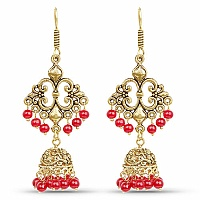 Brass Jhumka Dangle Earrings with Red Colored Beads
