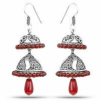 Oxidised Maroon Droplets Jhumki Earrings For Women