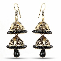 Oxidised Black Droplets Jhumki Earrings For Women