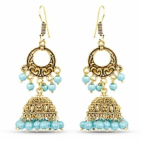 Chand Bali Style Jhumki Earrings with Turquoise Colour Beads