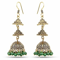 Oxidised Brass Plated Jhumkiwith Green Beads