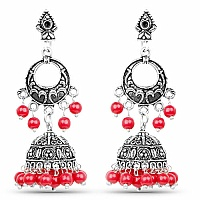 Oxidised Chand Bali Style Jhumki Earrings with Red Beads