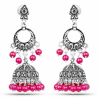 Oxidised Chand Bali Style Jhumki Earrings with Pink Beads