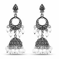Oxidised Chand Bali Style Jhumki Earrings with White Beads