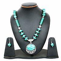 107.05 Grams Malachite Oxidised Necklace Set