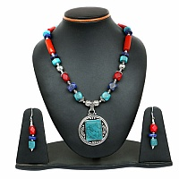 99.50 Grams Multstone Oxidised Necklace Set