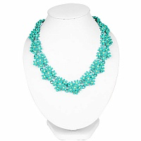 Turquoise Plated Chunky Fashion Necklace Adorned with Yellow