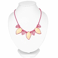 Pink Plated Chunky Fashion Necklace Adorned with Peach & Whi