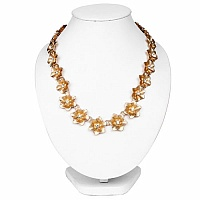 Golden Plated Fashion Chunky Fashion Necklace Adorned with W