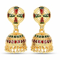 Traditional Gold Plated Classic Meenakri Jhumki Earrings for
