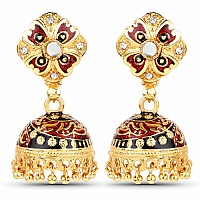 Traditional Gold Plated Red & Green Meenakari Cubic Zirconia