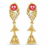 Traditional Gold Plated White Cubic Zirconia Jhumki Earrings