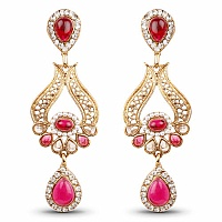 Pink Stone & White Stone Gold Plated Dangle Earrings