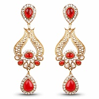 Red Stone & White Stone Gold Plated Dangle Earrings