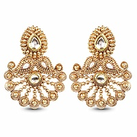 Cubic Zirconia Polki & White Synthetic Pearl Gold Plated Gre