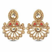 Cubic Zirconia Polki & Red Stone Gold Plated Green Enamel Da