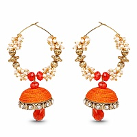 Orange Stone, White Stone & White Synthetic Pearl Gold Plated T