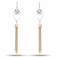 Gold Plated White Stone Studded Contemporary Chandelier Earr