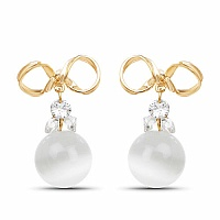 Gold Plated White Stone Studded Fashion Drop Earrings