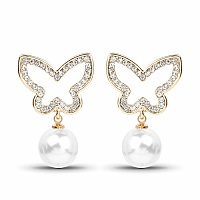 Gold Plated Pearl Drop Butterfly Fashion Earrings